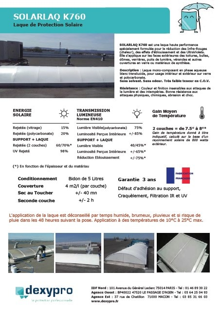 Laque solaire polycarbonate verriere toiture dexypro